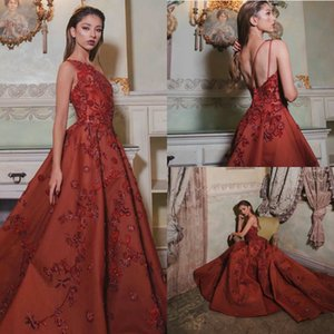 Red African Saudi Arabia A Line Prom Celebrity Dresses 2020 One Shoulder Vestidos de gala 3D Flower Appliques Evening Formal Party Gowns