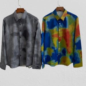 Mens monograma francés camisas 3D 2020 Moda Patrón Cartas de largo tapas de las mangas de impresión Casual Hombre de moda nueva ropa 4 Estilos