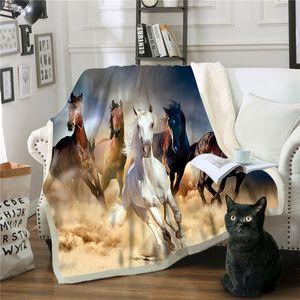 Coperta Mantas Horse Para Sofa Decorativa Coperta da tiro Colcha De Cama Casal Fleece Deken Frazadas De Polar Mantas