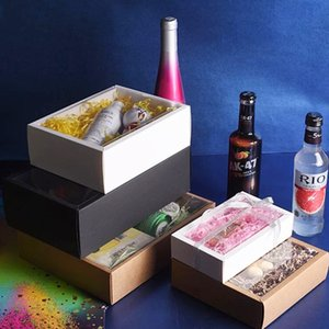 Papel Kraft 10pcs Folding com PVC transparente Janela Gift Packaging Cajas de Carton Present Box T200229