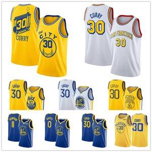 Hombres Steph Stephen Curry 30 de retroceso 0 Russell Klay 11doradoEstadoguerrerosNBA Thompson cosida camisetas de baloncesto