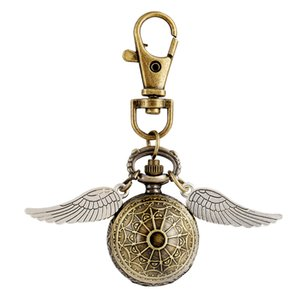 Antique Small Size Quartz Pocket Watch Ball Wing Steampunk Necklace Chain Pendant Watches Men Women Key Chain Gifts