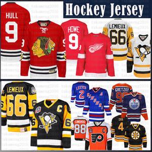 Mario Lemieux Männer Pittsburgh Penguins Hockey Jersey CCM 9 Bobby Hull Chicago Blackhawks Gordie Howe Detroit Red Wings Trikots