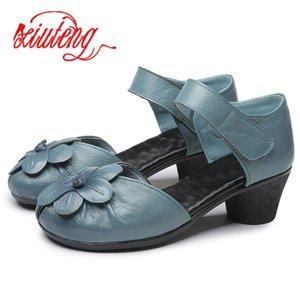 Xiuteng 2018 neue Art und Weise des Sommers weibliche Handgefertigte Sandalen Blumen Damen Lederschuhe Freizeit dick mit Frauen Sandalen Fersenriemen