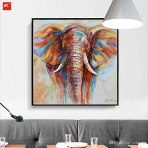 Faune colorée d'éléphant peint à la main HD Imprimer abstraite moderne d'huile animale Peinture murale Art Home Decor sur toile de haute qualité A75