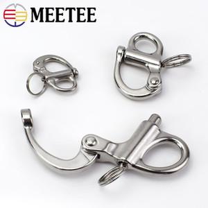 Aço inoxidável meetee giratória-snap gancho ganchos chaveiro anel de liberação durável ao ar livre webbings cadeia fivelas diy artesanato