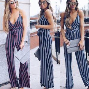 2019 Womens Clubwear de Moda de Nova mangas Pescoço V Playsuit sunsuit Jumpsuit Romper calças compridas cintura alta listrado Calças