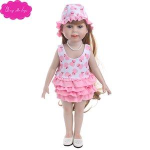 """18 """"American Doll yeni yaz baskı mayo takım elbise elbise"""