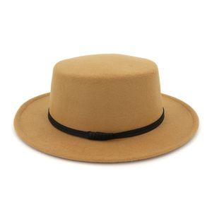 Cappello in feltro di lana Fedora di lana Cappello donna in lana da donna con visiera ampia in tessuto casual con fascia in pelle