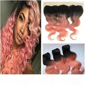1B oro rosa Ombre brasiliani tessono capelli umani con Pizzo frontale onda del corpo Rose Pink Ombre 3Bundles con pizzo Full Frontal Chiusura 13x4
