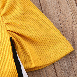 1-6Years Toddler Kid Baby Girl Clothes Puff sleeve Top T-shirt Tight Skirt Knit Outfit Clothing Set