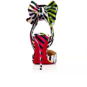 Hot Sale-Bowie sandales à talons aiguilles d'été de nouvelle mode confortables femmes de couleur sandales de véritables chaussures de mariage de partie en cuir avec boîte
