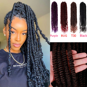16Inch Synthetic Faux Locs End Curly Passion Twist Crochet Hair Pre-looped Fluffy Crochet Braid Hair Ombre Synthetic Braiding Hair extension