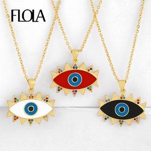 FLOLA زركون أزرق العين للنساء مع حجر المينا اليونانية العين القلائد قوس قزح CZ الذهب والمجوهرات بيان nkeq40