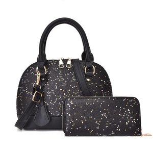 2pcs set high qulity Designer womens handbags flower ladies composite tote PU leather clutch shoulder bags female purse with wallet