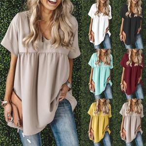Yaz Kısa Kollu V Yaka Bayan Moda Kadın Kasetli Peplum Tees Saf Renk Designer Bayan tişörtleri Tops