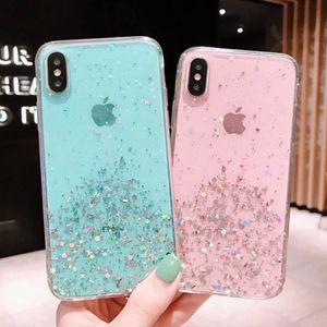 Glitter Bling Sequins Case para iphone 8 7 Plus 6 6S Shining Star Transparency Funda para teléfono para iphone X XS Max XR Soft Cover