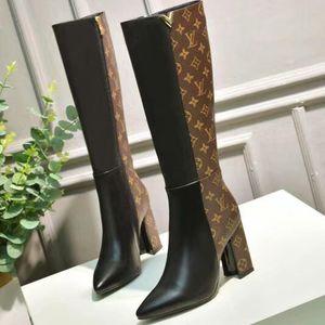 새로운 패션 고급 여성 굽 높은 부츠는 직물 크기 35-42 인쇄 편안하고 부드러운 가죽 재료 (15) 인치 숙녀 기사 부츠 세련된