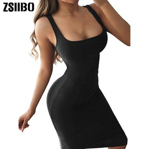 ZSIIBO Women's Basic Tank Bodycon Sleeveless Solid Casual Dress Pencil Dress New Arrival drop shipping