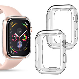 Cubierta de la caja Compatible iWatch Apple Seguir serie de casos 4 5 1 2 3 44 mm 40 mm 42 mm 38 mm a prueba de golpes TPU parachoques protector claro de