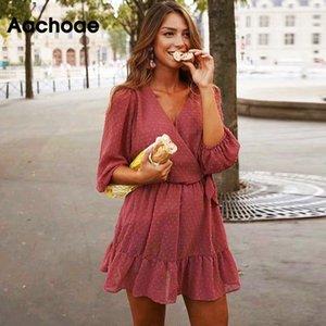 Aachoae 2020 Yaz Kadın Ruffles Dantel Şifon Elbise Boho Mini Plaj Elbise Üç Çeyrek Kol Bayanlar Parti Elbise Vestido Y200623