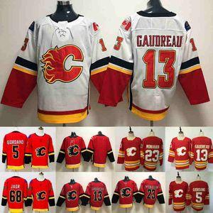 2020 Calgary Flames 13 Johnny Gaudreau Jersey 23 Sean Monahan Jaromir Jagr 5 Mark Giordano Hocekey Jersey