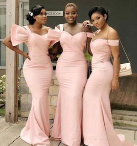 South African rosa Meerjungfrau Brautjungfer Kleider Lange 2020 eine Schulter-schwarze Mädchen Mädchen der Ehre Kleider für Hochzeitsfest nach Maß