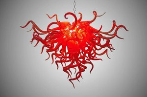 100% soufflé bouche CE UL borosilicate en verre de Murano Dale Chihuly Art chinois Red Glass Lobby Chandeliers