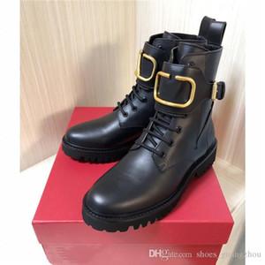 stivali di pelle di inverno delle donne di avvio di combattimento in pelle di vitello, Womens Martin caviglia-alta con pannelli smerigliate in nero prossimo con la scatola formato 35-40
