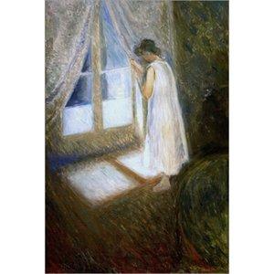Magnifiques œuvres d'art Edvard Munch à vendre peintures abstraites Das Madchen am Fenster sur toile