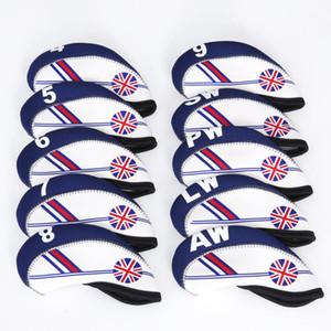 tampas 10pcs Flag UK Patterned Neoprene Golf Club Ferro Cabeça cobrir Headcovers fixados caso Protect, número de impressão, intercambiáveis