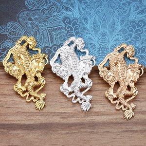 5шт 37 * 63mm DIY серебра золота Китай дракона амулеты Amulet кулон ювелирные изделия делая древней моды украшения ручной работы материала сплава