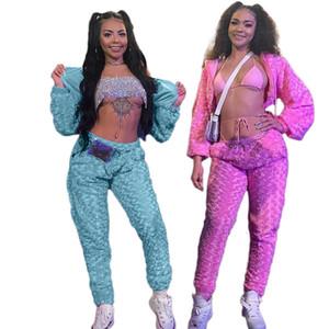 Rose Velvet Mulheres Designer Fatos Street Style Sexy slim com capuz Dois Pants Pedaço Moda feminina Fatos