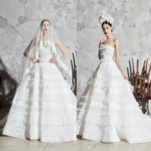 Beautiful Zuhair Murad A Line Wedding Dresses Strapless Sleeveless Lace Applique Ruffles Wedding Gowns Sweep Train robe de mariée
