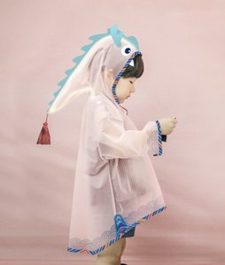 Children's boys' and boys' waterproof light raincoat cute three-dimensional 3D semi-transparent Cloak cloak dragon robe poncho
