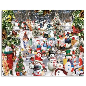 5D DIY diamante pintura presentes de Natal Mosaic bonecos de neve cheio de diamantes bordados Cross Stitch Natal dos pássaros Rhinestone Inverno
