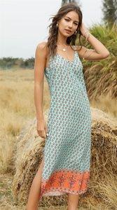 Boho Стили Womens конструктора пролитого платья Тонкого рукавов Спагетти ремень платье Цветочной Printed Тощей Женская одежда