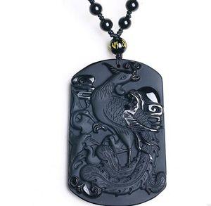 60 * 40 * 10 mm colgante Rey Negro Obsidiana collar de Phoenix de la joyería joyería fina Bird colgante de jade