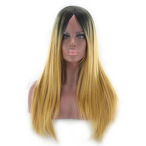 Qiyi European and American Foreign Trade Dyed Wig Gradient Color Mid-Length Straight Hair Speed Buying Hot Selling Temperament Cos Wig