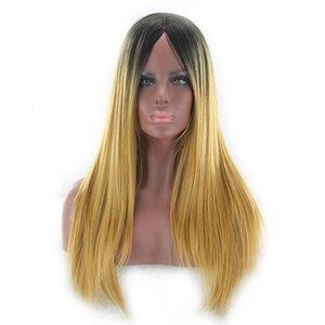 Qiyi europeu e americano de Comércio Exterior Pintado peruca Gradiente de cor de Comprimento Médio Cabelo Liso velocidade Compra Venda quente Temperamento Cos Wig