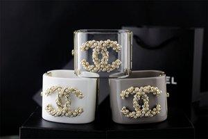 pulsera de cristal pulsera brazalete de perlas de cristal claro punk cráneo La joyería de la pulsera con la caja