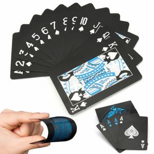 Imperméable en plastique PVC d'or Cartes de poker Set Poker Couleur Noir Carte Sets de style classique Magic Tricks outil Jeux Poker
