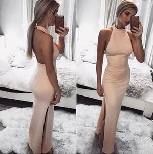2019 robes sexy roses sexy halter longueur de plancher dos nu robes de bal satin côté longue robe de soirée fendue robe de soirée