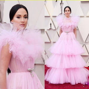 2020 Oscar Pink Plus Size Evening Dresses High Neck Tieres Prom Gowns Quinceanera Dress Vestido De Festa Formal Celebrity Gown Abendkleider