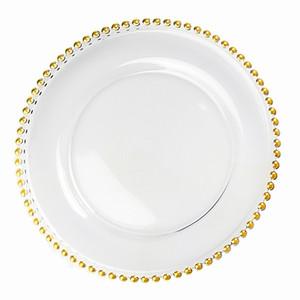 Altın / Gümüş / Temizle Boncuklu Jant Yuvarlak Yemek Takımı Tepsi Nikah Masası Dekorasyon GGA3206 3styles ile 27cm Yuvarlak Boncuk Yemekler Cam tabağı