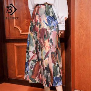 2020 Vintage Şık Empresyonist Boyama Baskı Orta Uzun Etek kadınlar rahat etekler İlkbahar Yeni B01410M