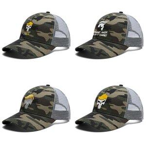 Mens Women TrumPisher2020 Adjustable Trucker Cap Cricket Cool Best Vintage Baseball Hat trump hair don't care punisher logo skull shaped