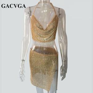 Gacvga 2019 Cristal Sexy Crop Top Plage De Remise En Forme T-shirt Femmes D'été Tops En Métal Partie Tank Top Bralette Recadrée Feminino Blusa Y19042801