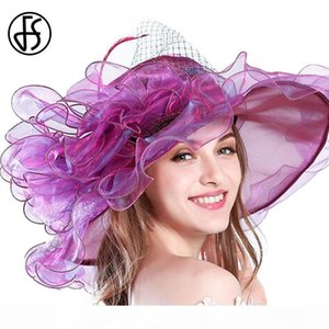 FS 9 Colors Fashion Summer Organza Sun Hats For Women Elegant Laides Church Vintage Hat Wide Large Brim With Big Flower D18103006