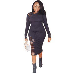 Kleidung Fall Bodycon Art und Weise Kleider Langärmlig O-Ansatz Hollows legerer Kleidung Frauen Herbst Designer